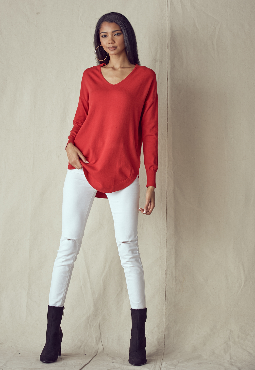 V-Neck Tie Back Long Sleeve Knit