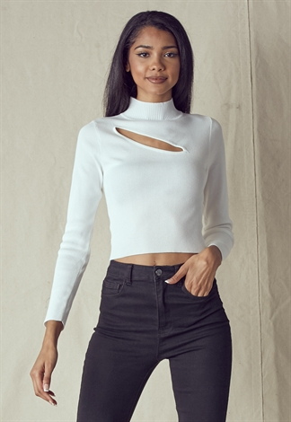 Mock Neck Cutout Front Long Sleeve Knit Top