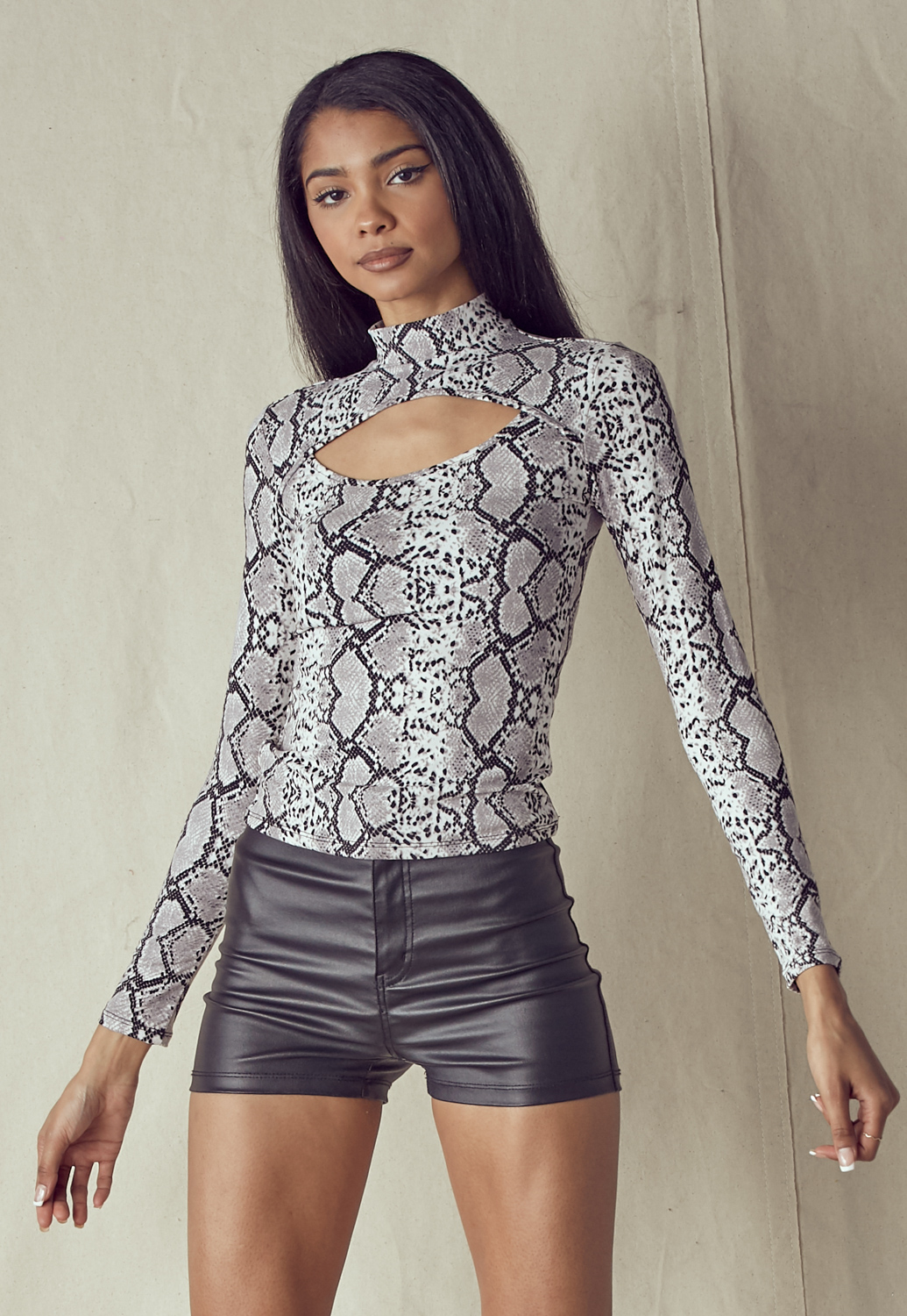 Mock Neck Cut Out Front Top