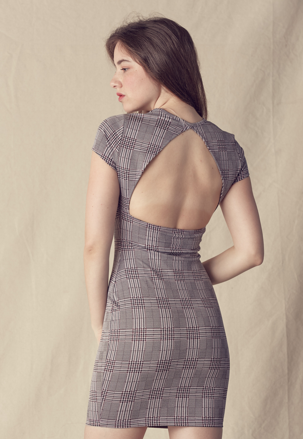 Check Dress With Open Back Detail