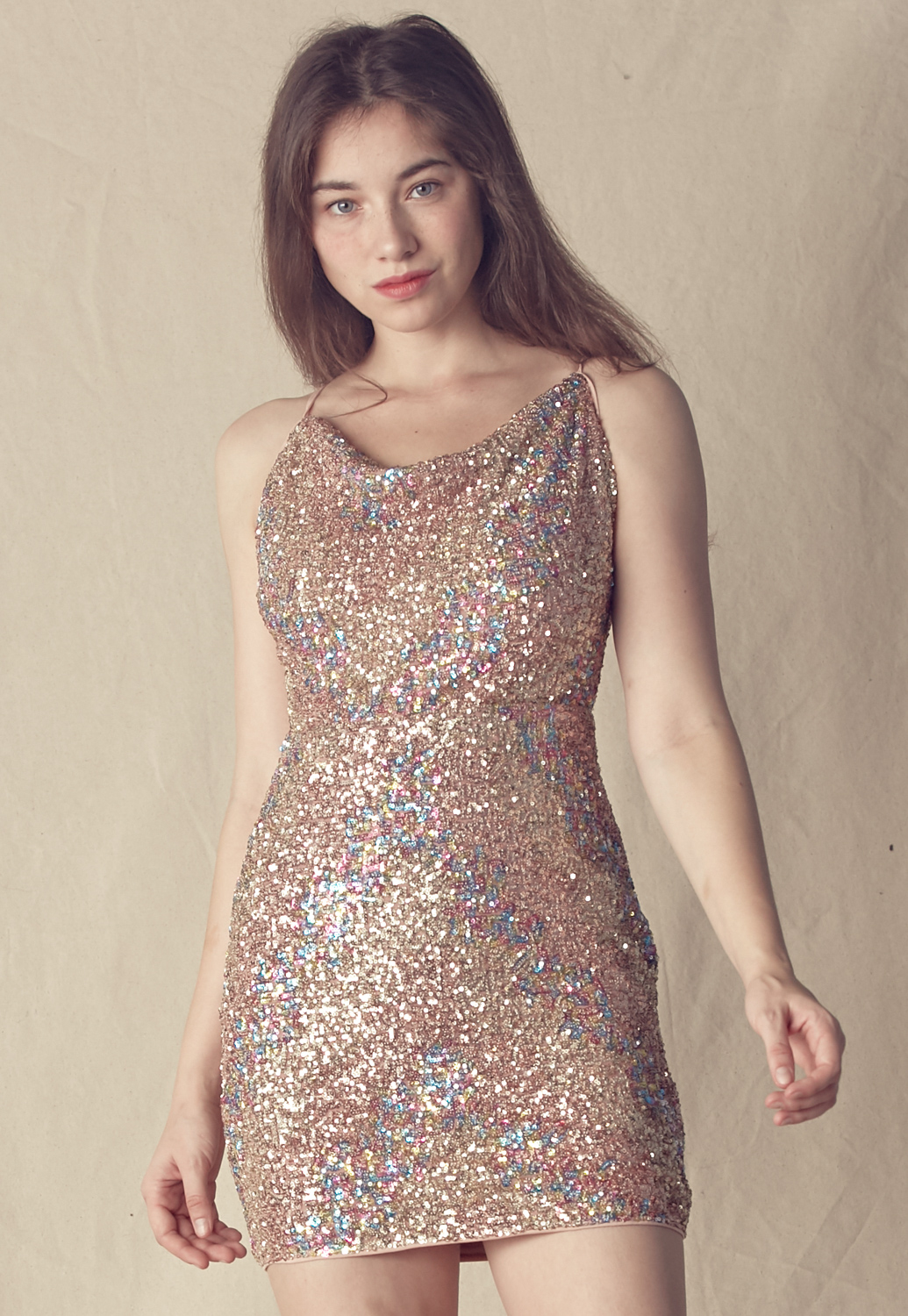 Sequins Cowl Neck Open Back Dress