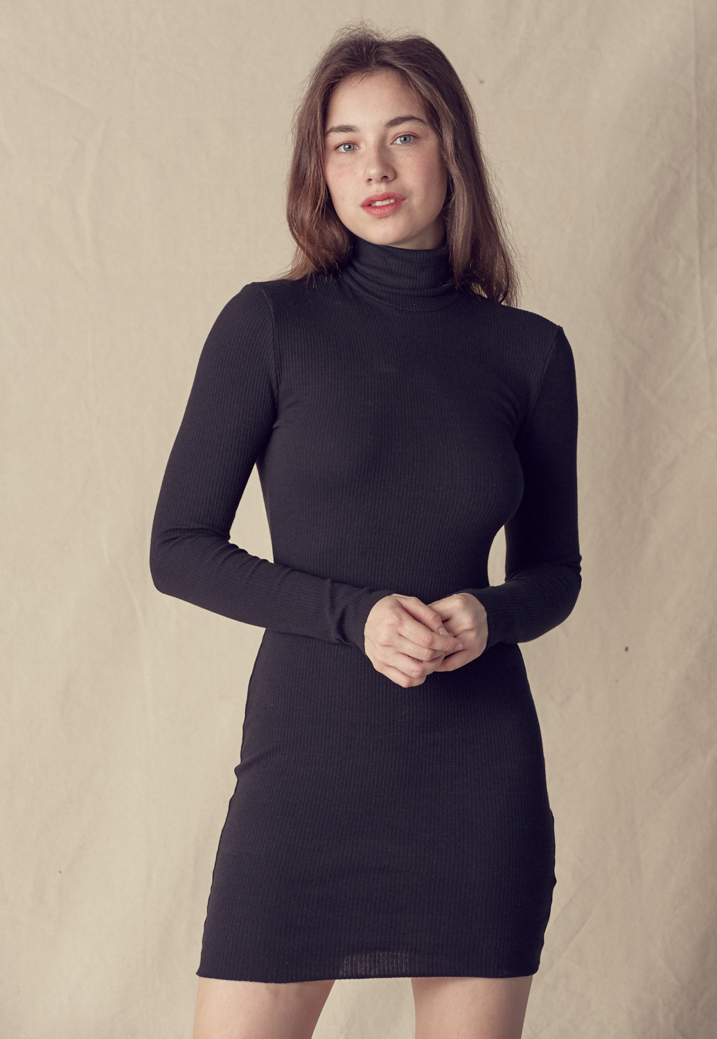 Turtleneck Knit Midi Dress