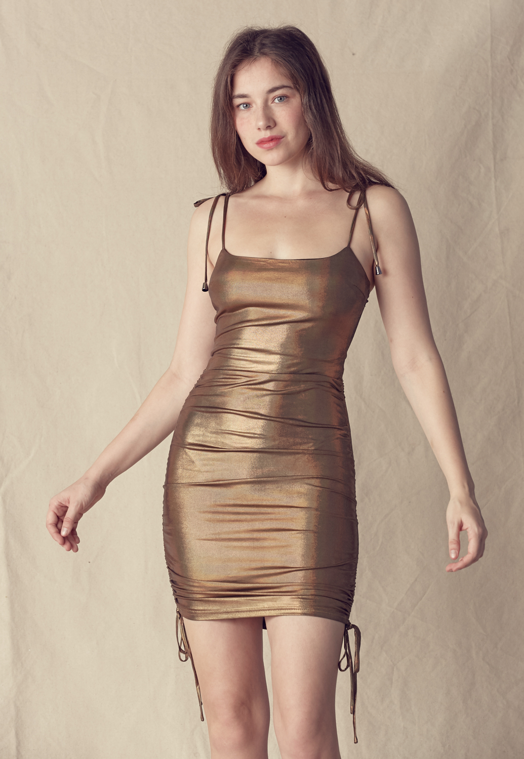 Metallic Cami Side Ruched Mini Dress