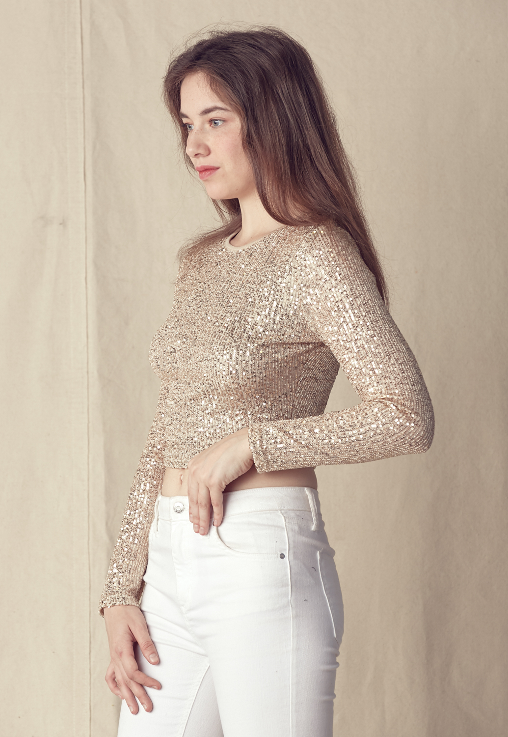Sequin Round Neck Long Sleeve Top