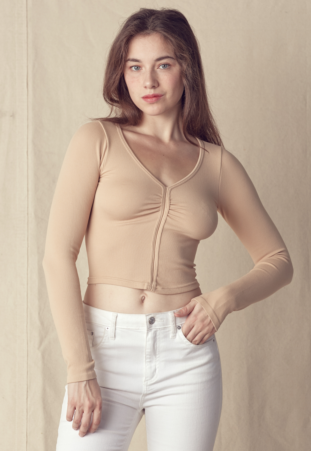 Fitted V-Neck Crop Top
