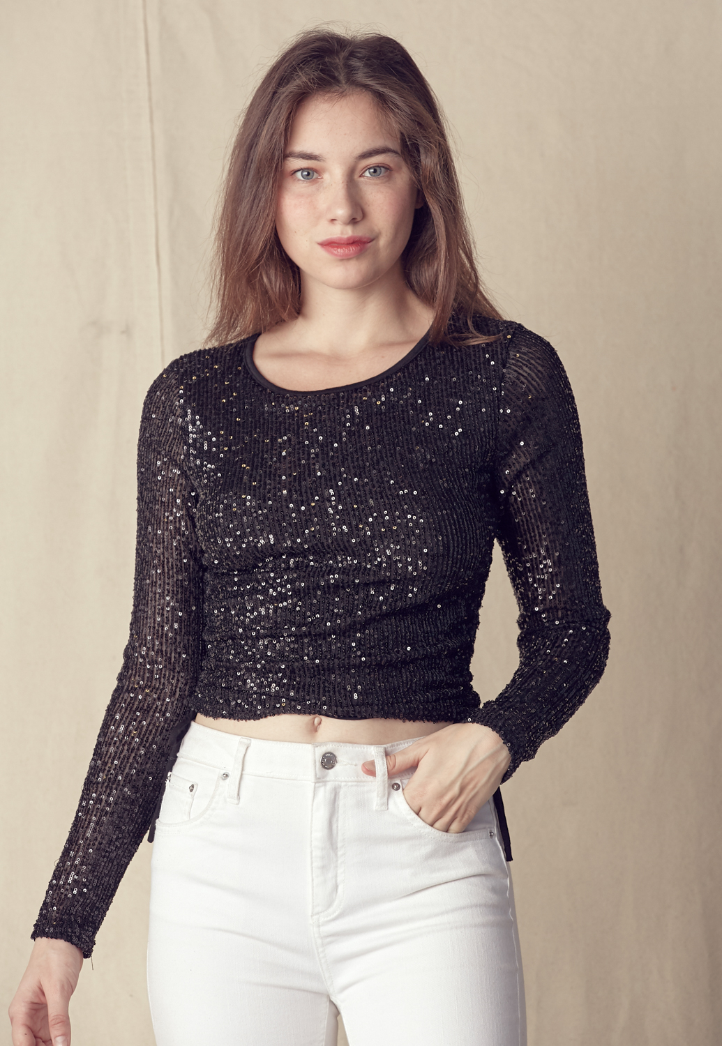 Sequin Drawstring Side Crop Top