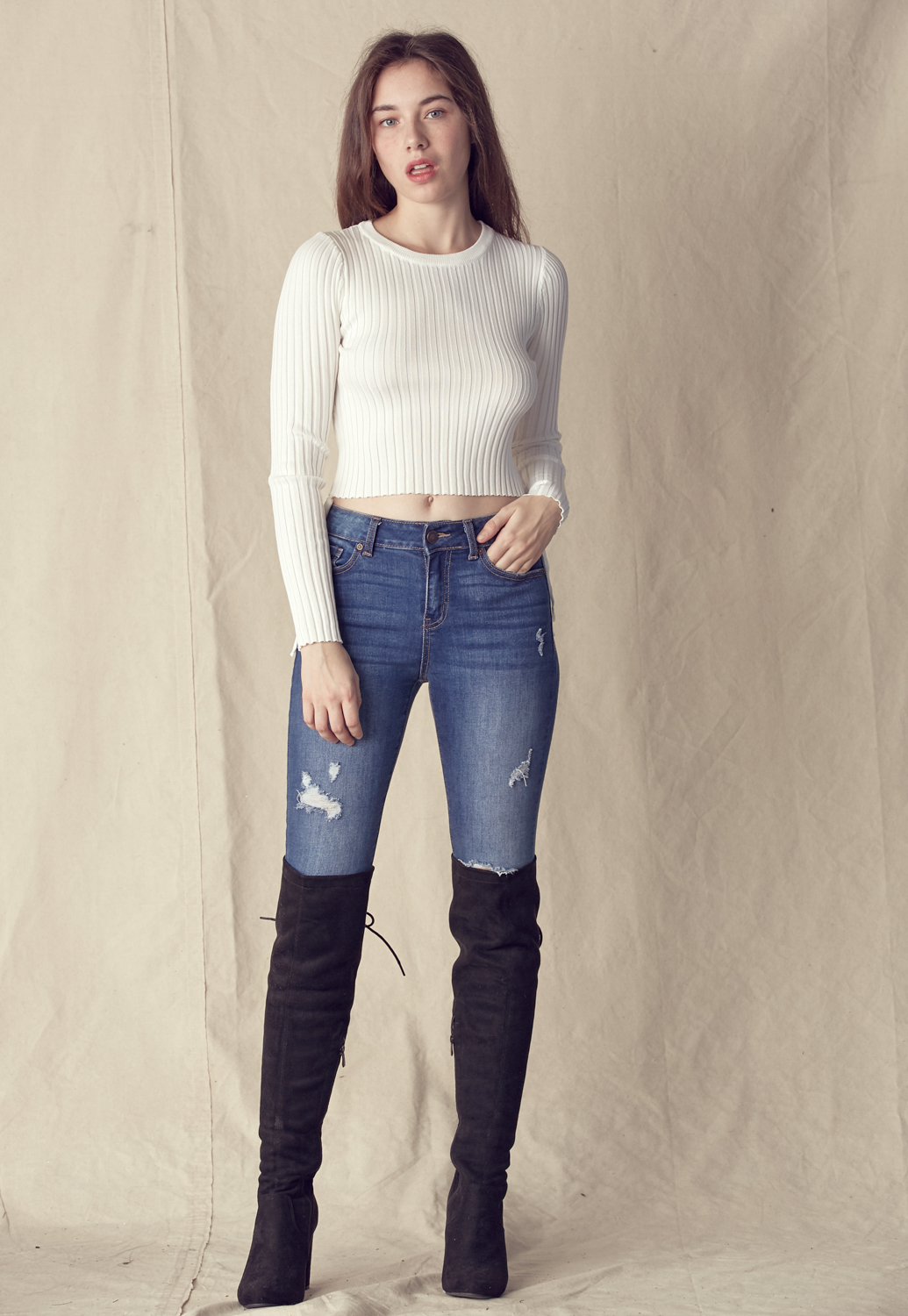 Side Drawstring Rib-Knit Top