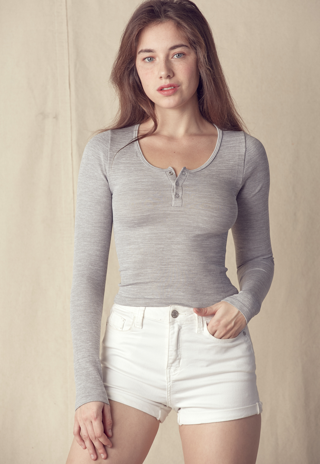 Front Button Fitted Knit Top