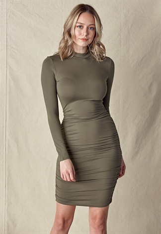 Mock Neck Side Ruched Dress