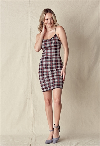 Plaid Cami Bodycon Dress