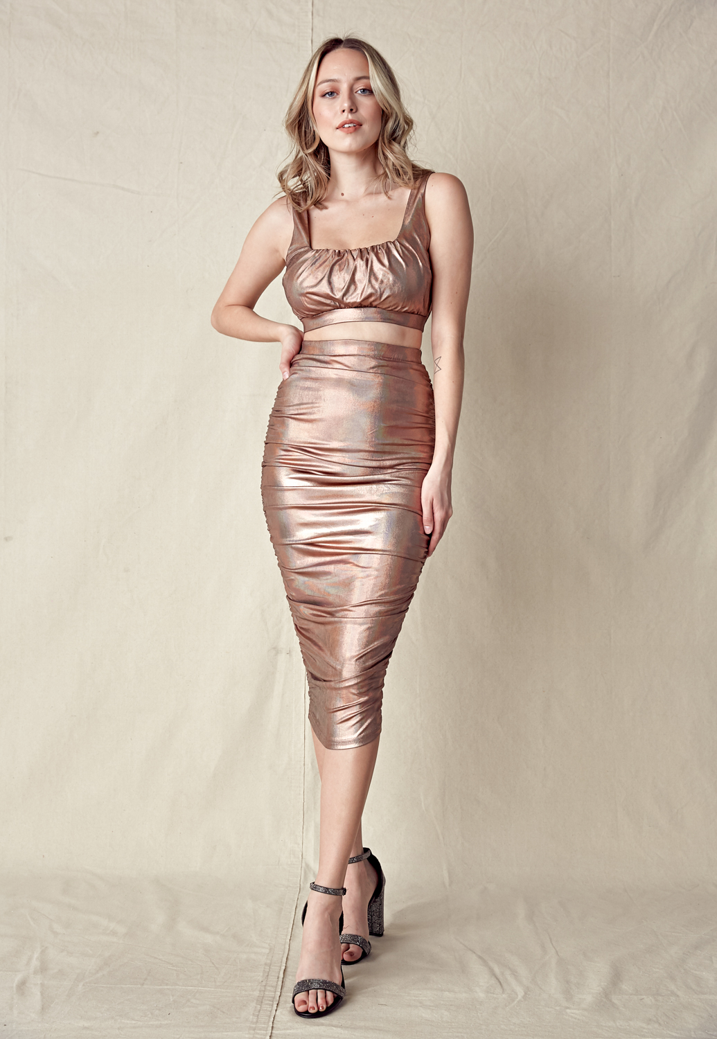 Metallic Crop Cami Top & Skirt Set