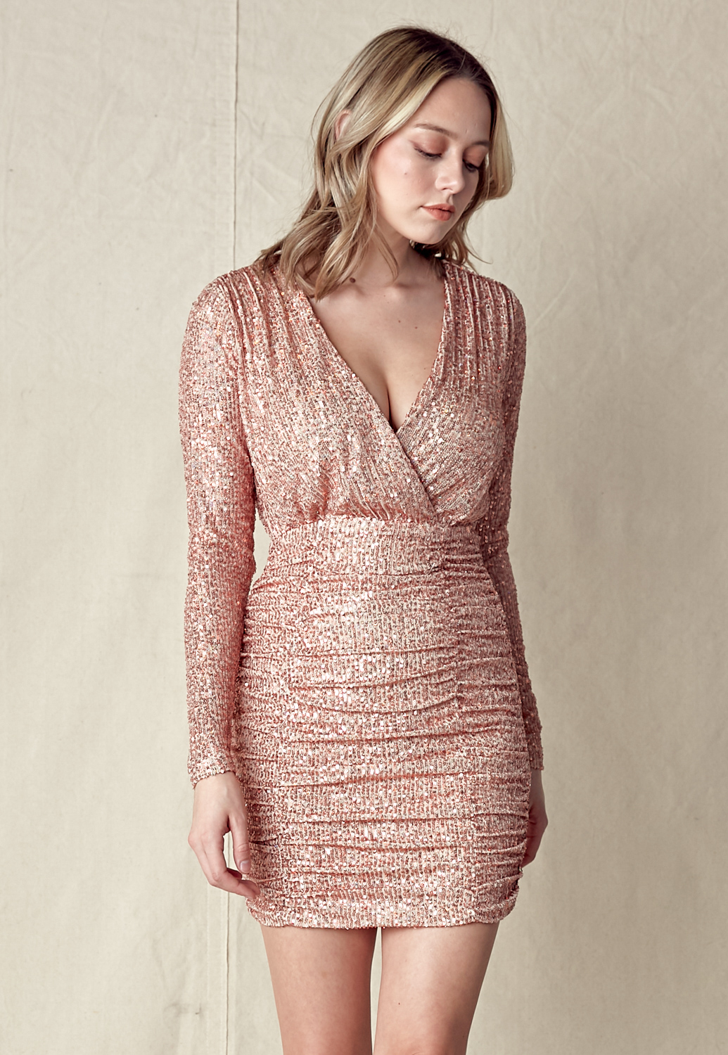 Sequin V-Neck Side Ruched Dress
