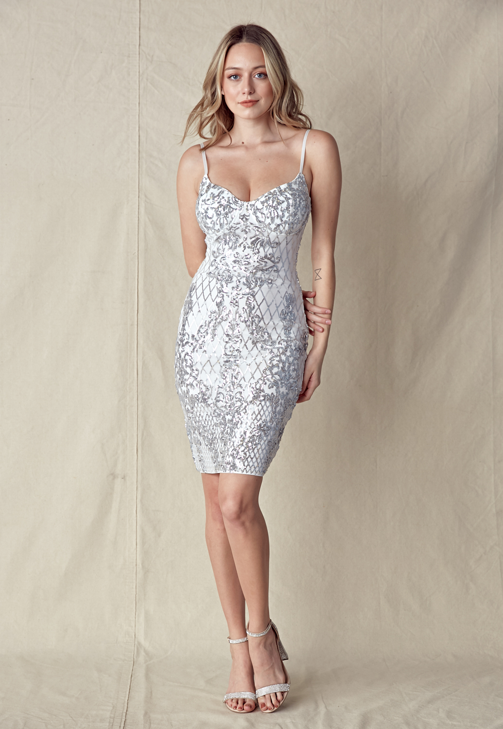 Sequin Bead Trim Bodycon Dress