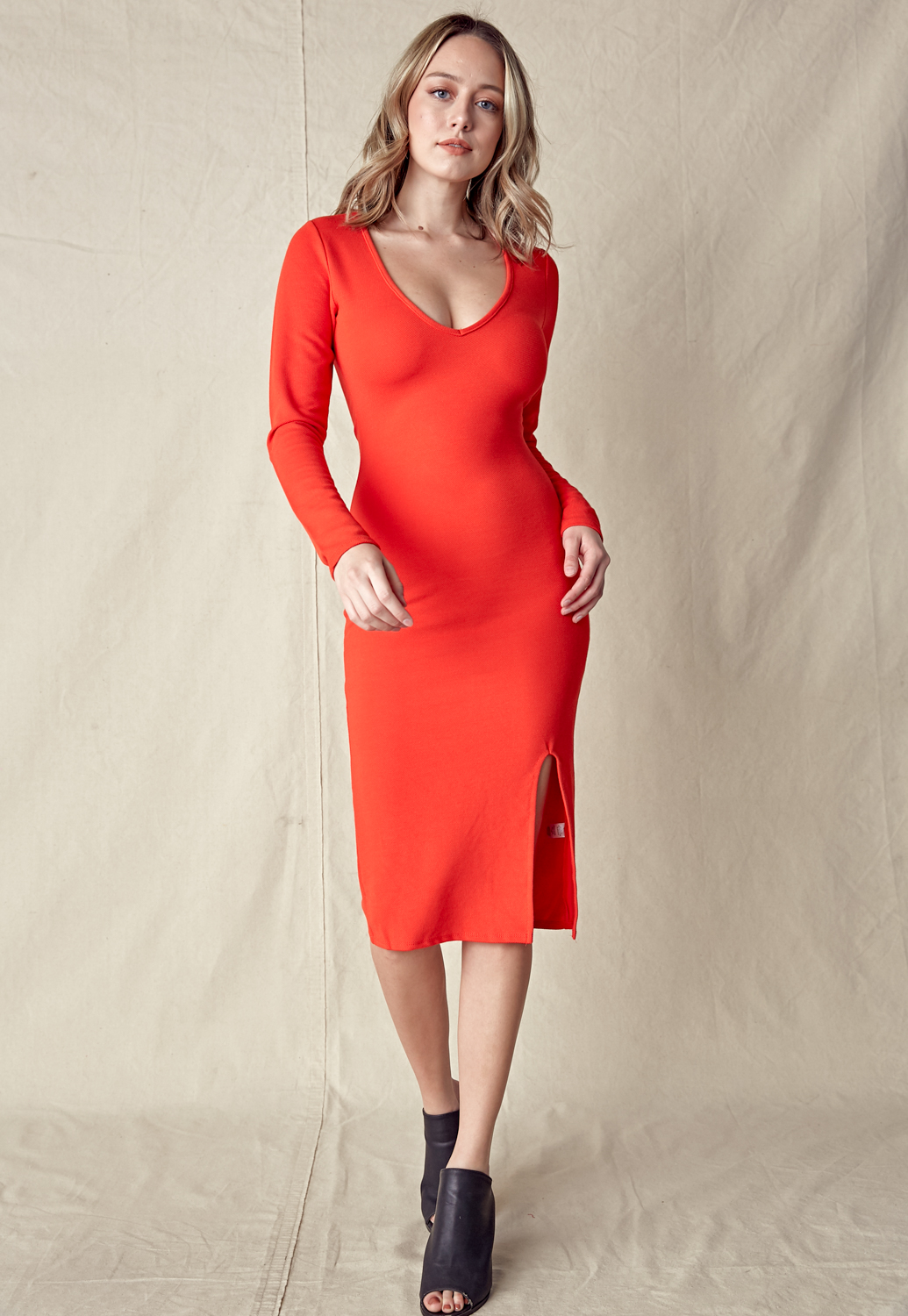 Deep V-Neck Slit Midi Dress