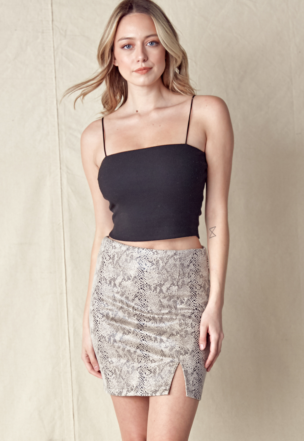 Snakeskin Slit Mini Skirt
