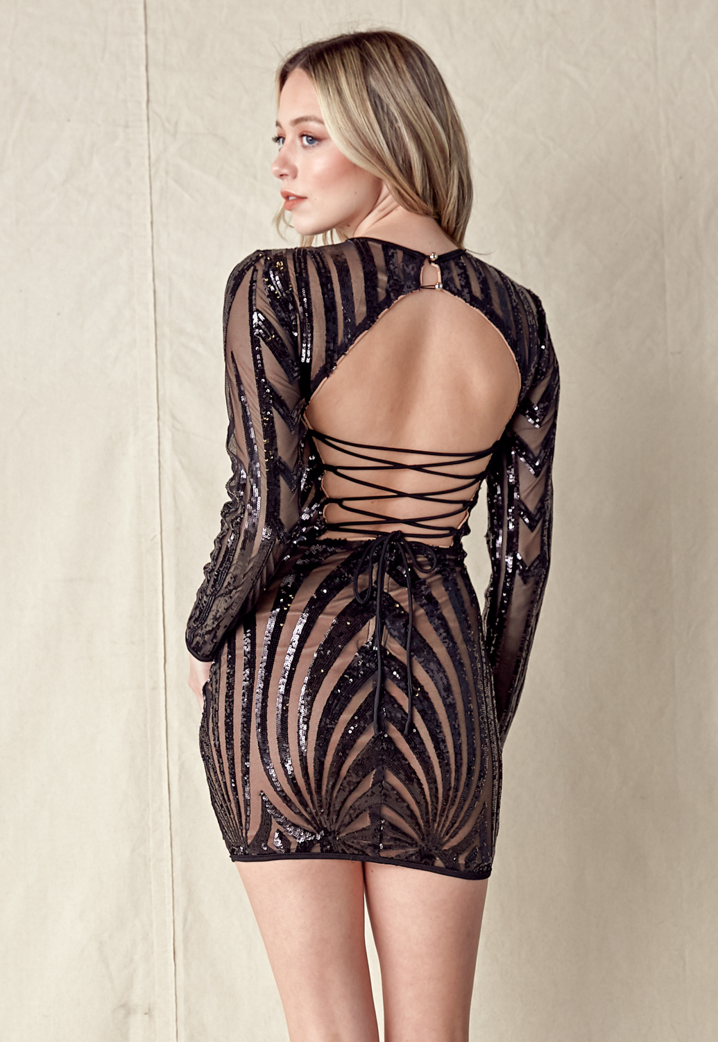 Sequin Bead Trim Open Back Dress