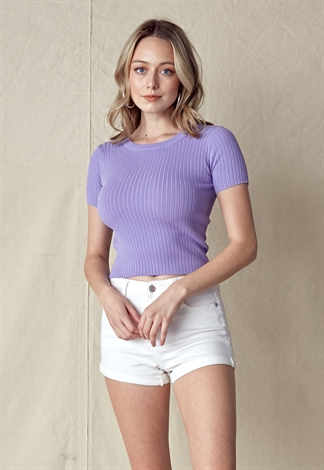 Round Neck Rib-Knit Crop Top