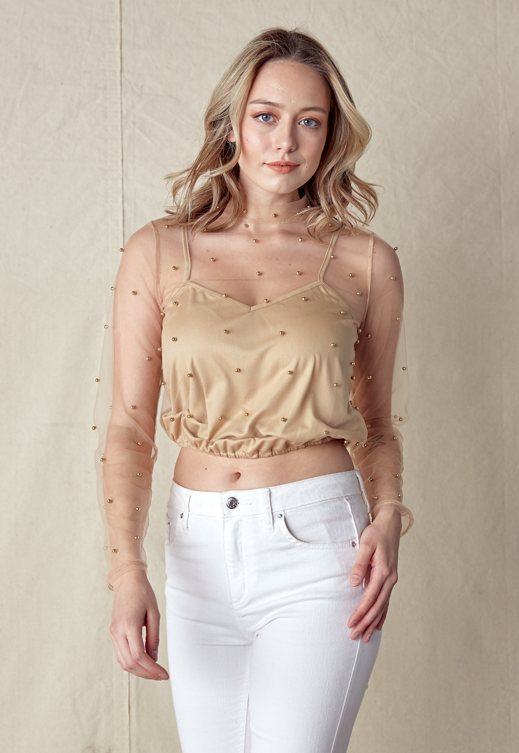 Faux Pearl Sheer Mesh Top
