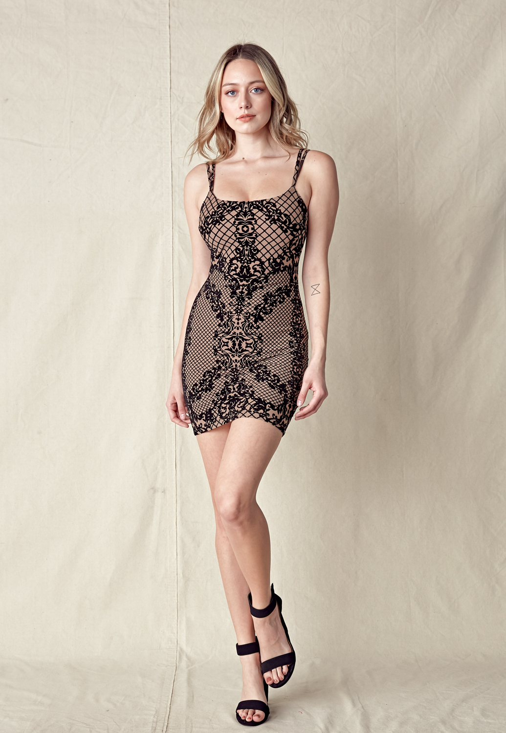 Faux Suede Lace Trim Dress