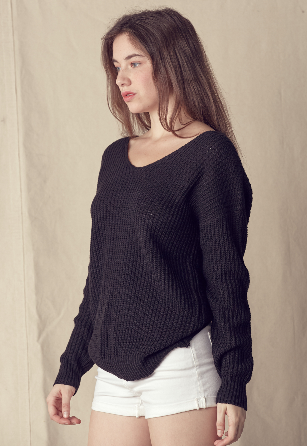 Ribbed Twisted Back Sweater