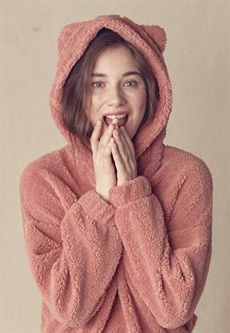 Ear Detail Hooded Teddy Sweatshirt