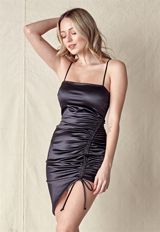 Front Ruched Drawstring Cami Dress