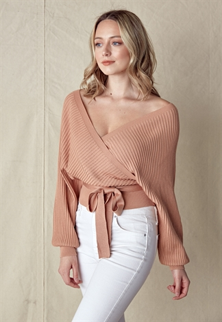 Tie Front Wrap Knit Sweater