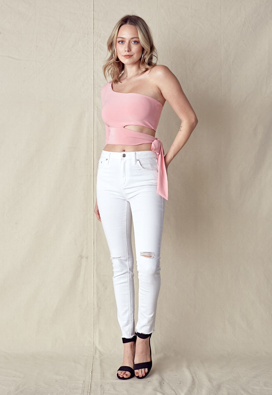 Cut Out Front One Shoulder Top