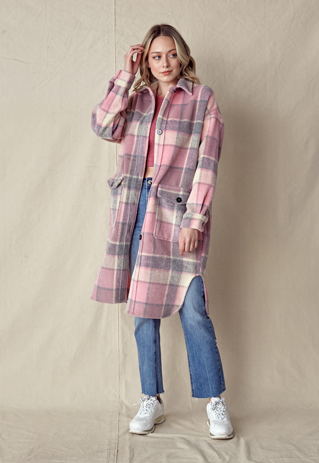 Pink Plaid Front Pocket Coat