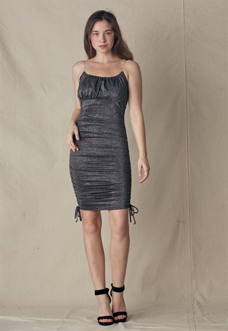 Clear Strap Metallic Dress