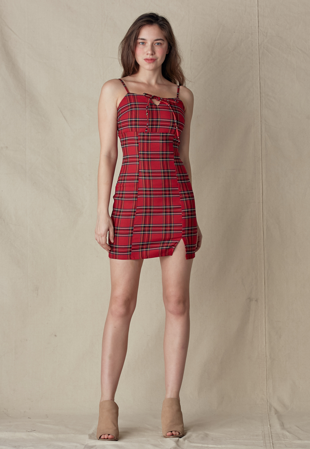 Plaid Front Tie Cami Mini Dress
