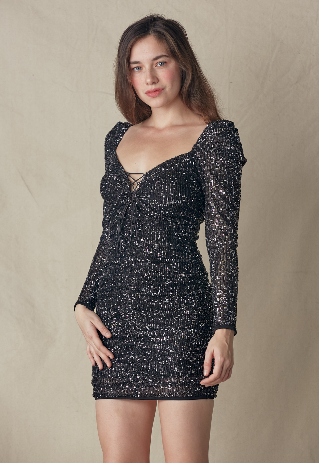 Sequin Tie Front Dress