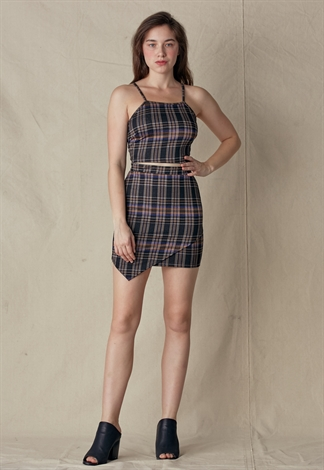 Plaid Cami Top & Skirt Set