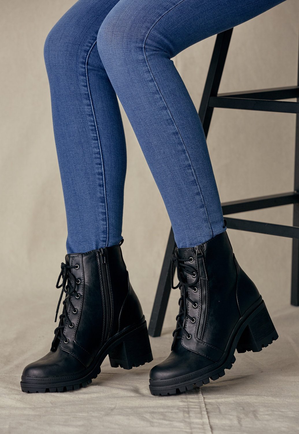 Lace Up Heel Combat Boots