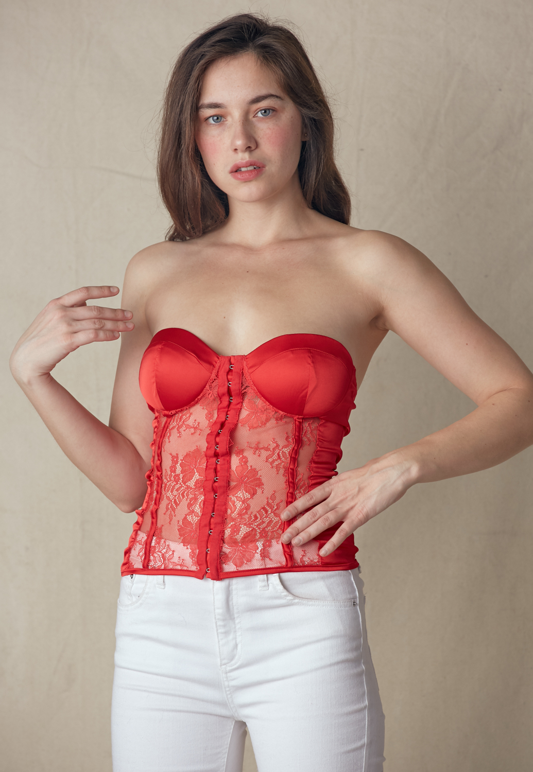 Lace Trim Bustier Top