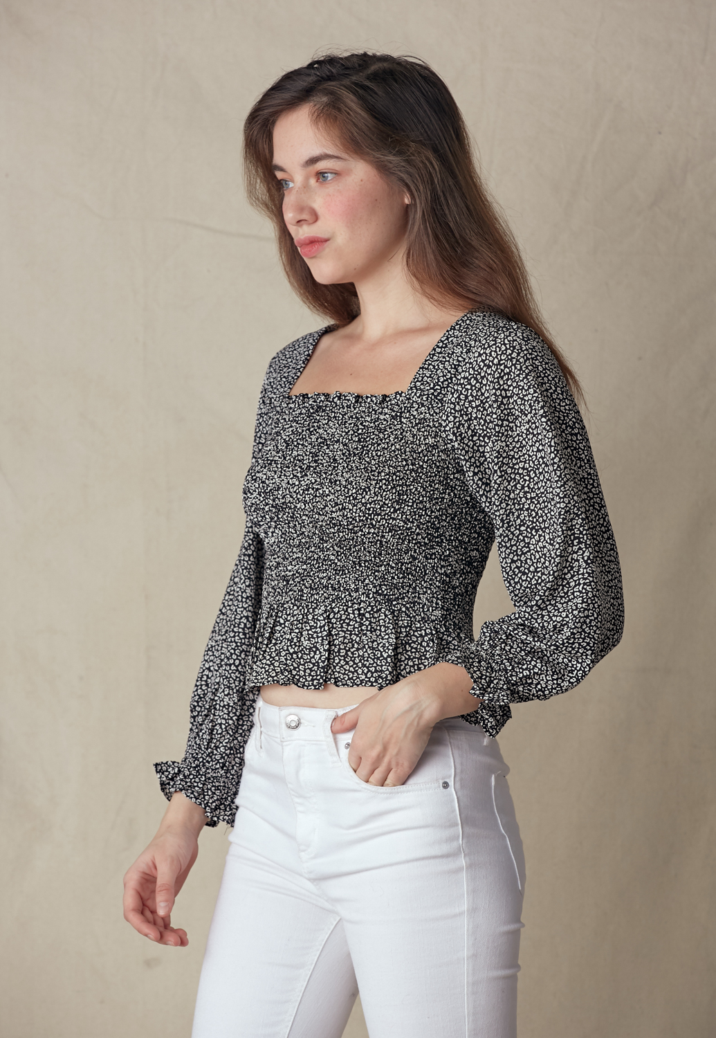 Square Neck Smocked Blouse