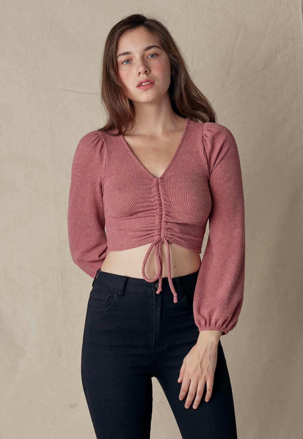 V-Neck Front Drawstring Knit Crop Top