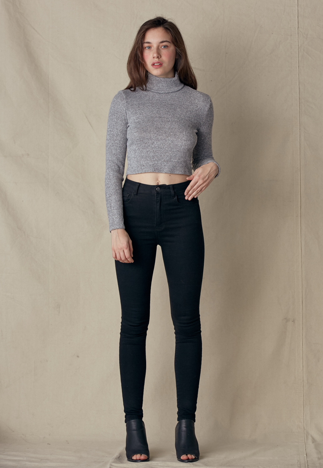 Turtleneck Long Sleeve Crop Knit