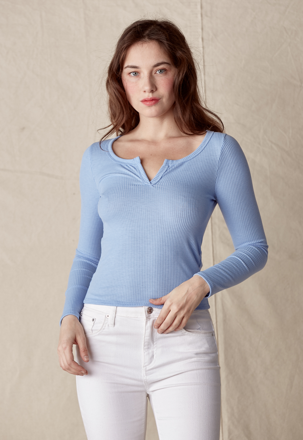 V-Slit Long Sleeve Ribbed Top