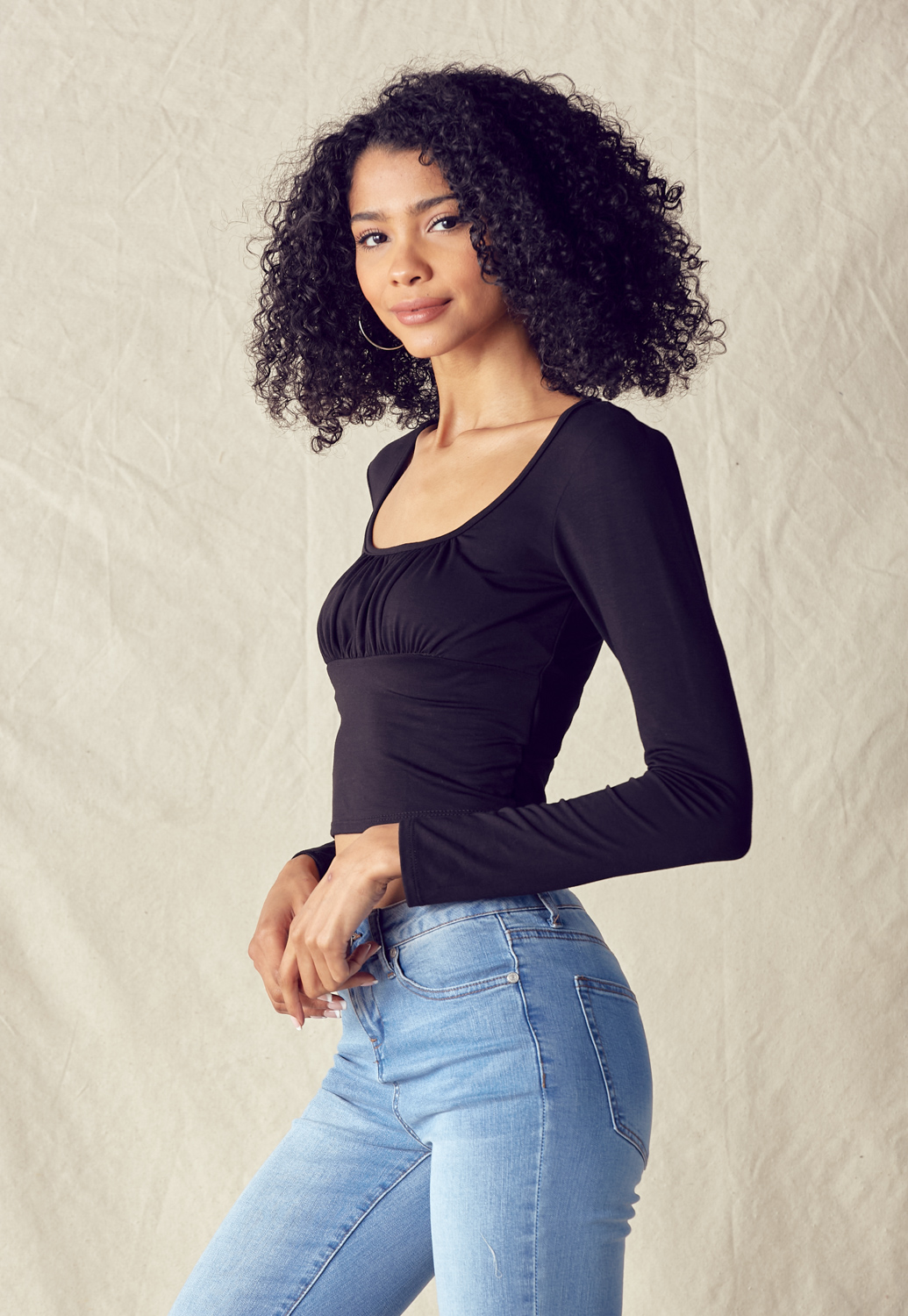 Square Neck Ruched Bust Crop Top