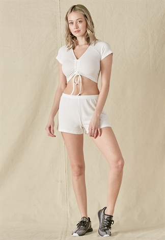 Ribbed V-Neck Drawstring Crop Top & Pants Set