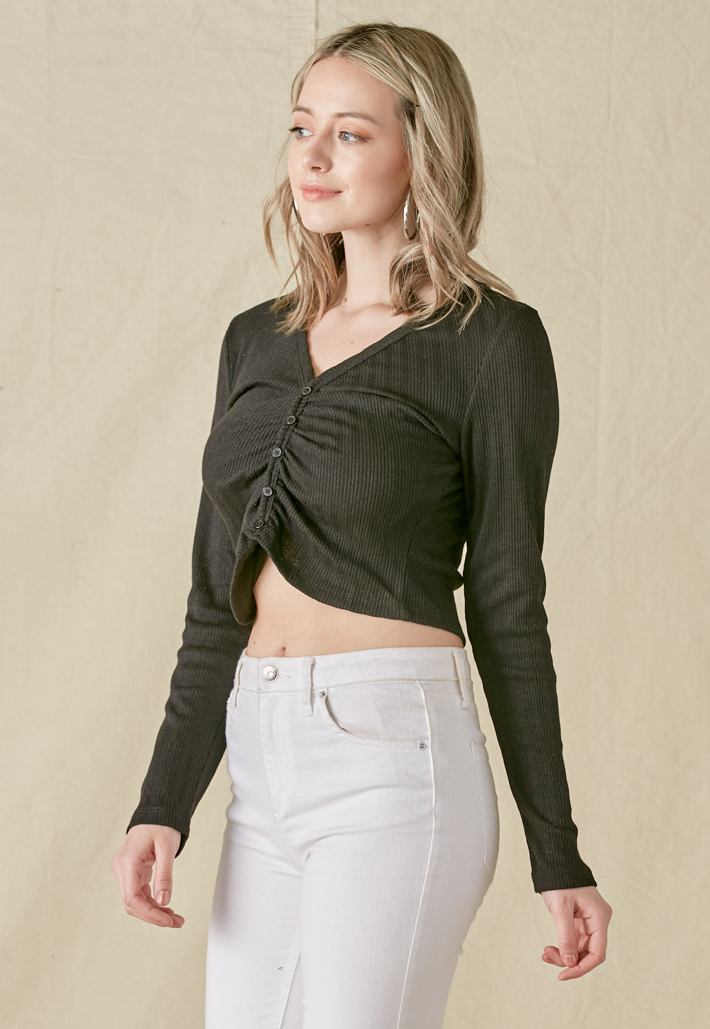 V-Neck Long Sleeve Crop Knit Top