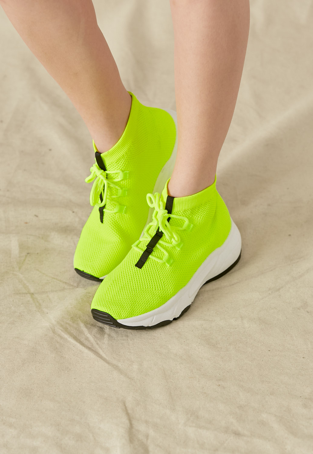 Neon Stretch-Knit High-Top Sneakers