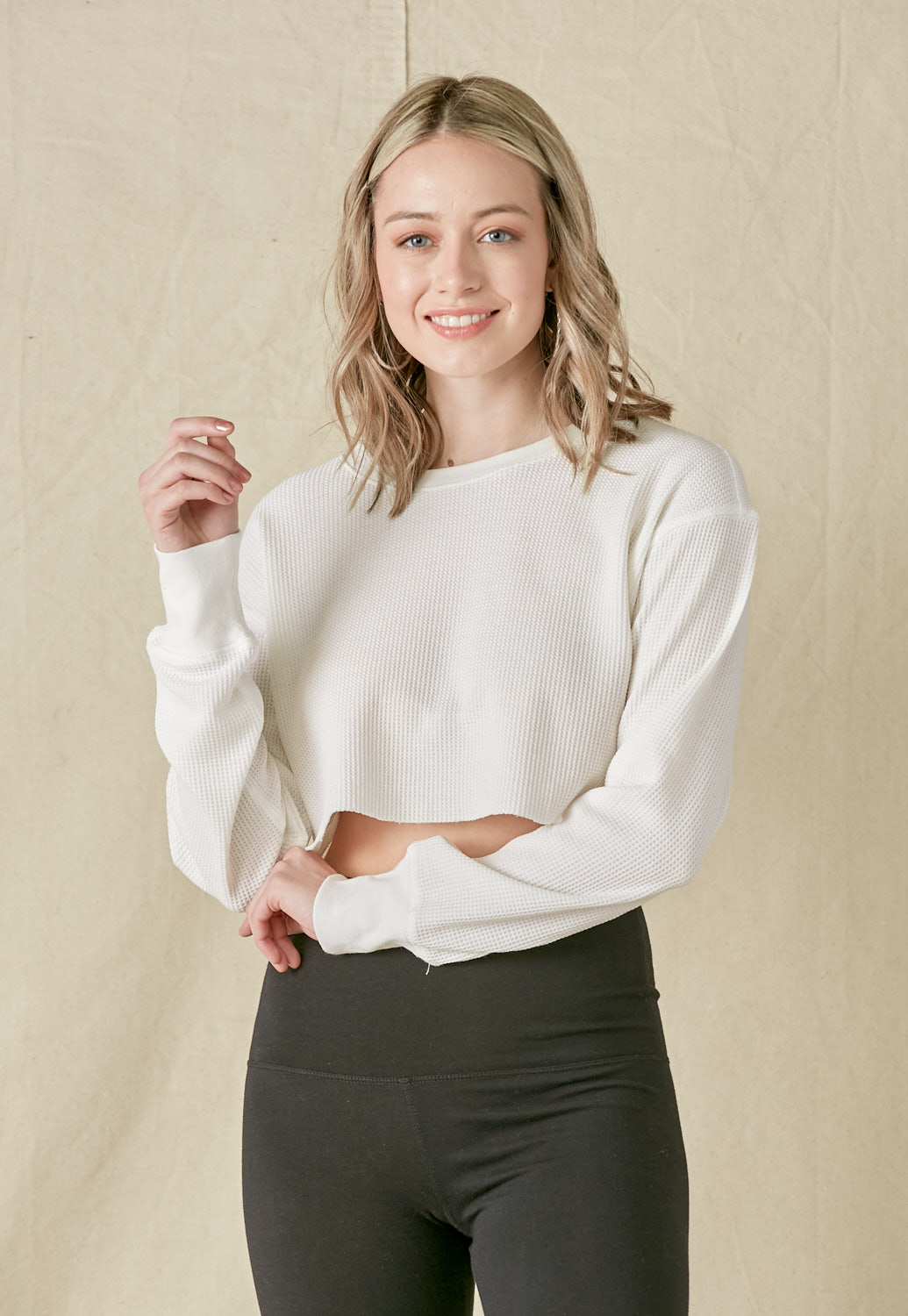 Long Sleeve Crop Knit Top