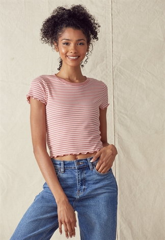 Lettuce Trim Striped Crop Top