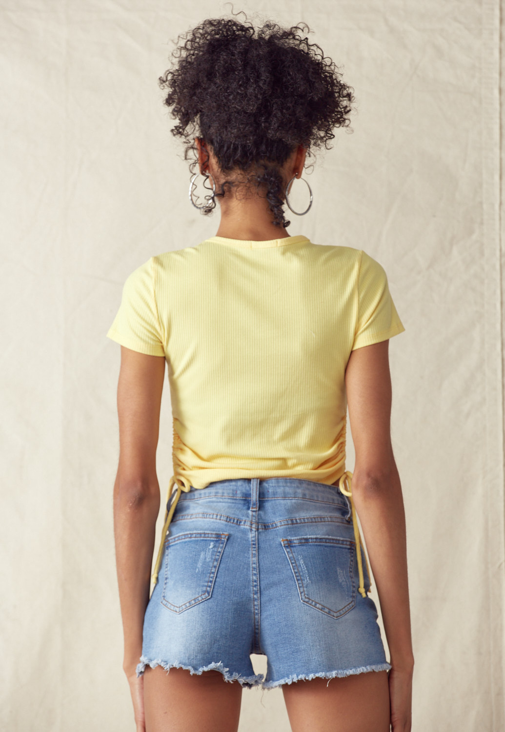 Drawstring Side Crop Tee