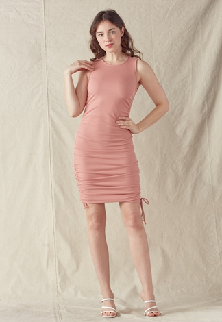 Side Ruched Drawstring Dress