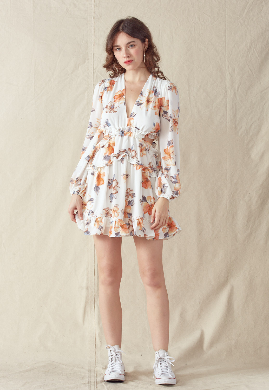 Ruffled Floral Print Side Cut Out Mini Dress