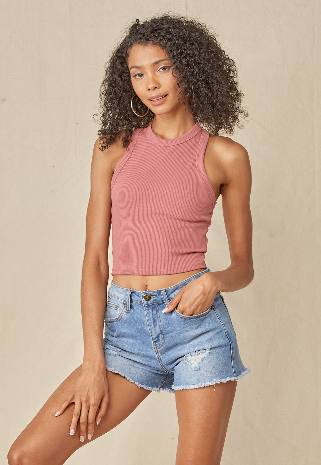 Round Neck Basic Crop Tank Top