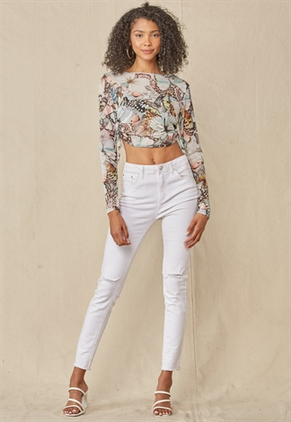See-Through Butterfly Print Crop Top